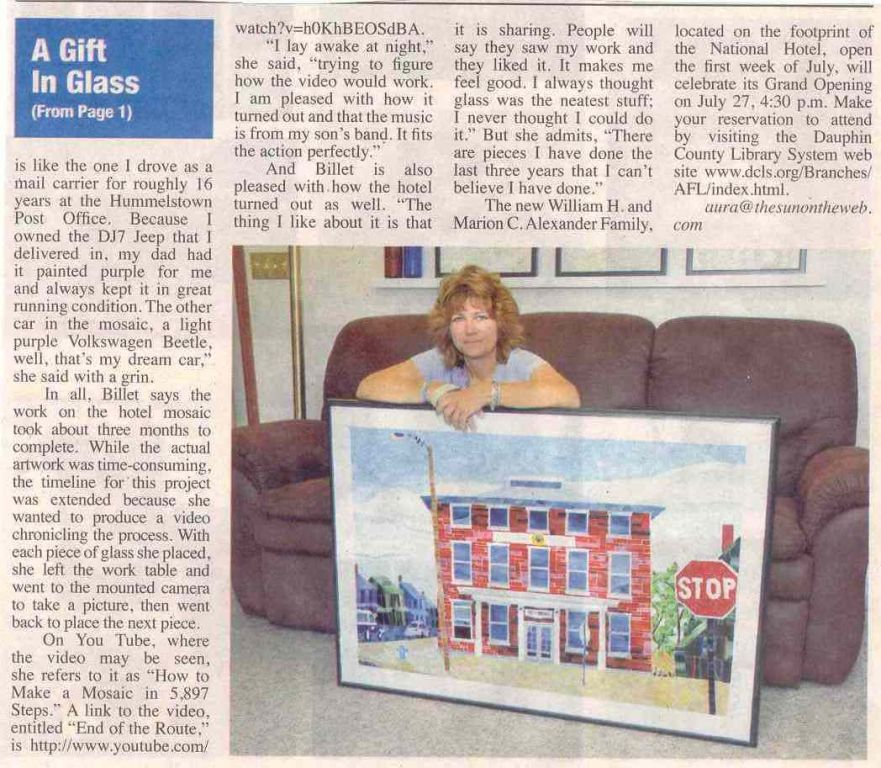 Linda Billet press - Hummelstown Sun